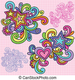 Groovy Psychedelic Star and Heart Swirly Abstract Doodles Hand Drawn Notebook Doodle Design Element on Lined Sketchbook Paper Background- Vector Illustration
