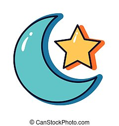 star and moon crescent slang line and fill style icon