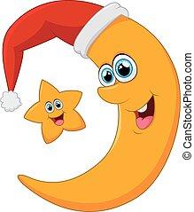 star and moon on christmas