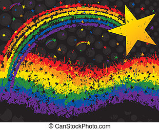 Star and rainbow grunge