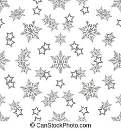 Star and Snowflake Seamless Pattern. Abstract seamless pattern with confetti stars and snowflake. Vector illustration. Shiny background. Texture of gold foil. Vector EPS 10.