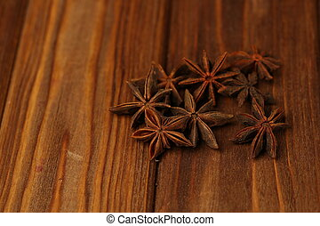 Star anice on the wooden table