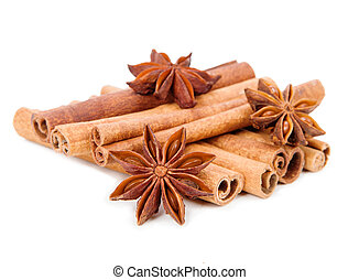 Star anise and cinnamon sticks isolated on white background