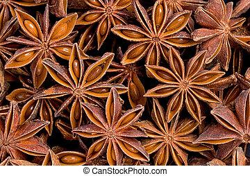 Star Anise (Illicium verum) - Background texture of several...