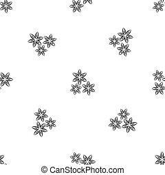 Star anise pattern seamless black