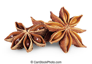 star anise in closeup over white background. Clipping Path