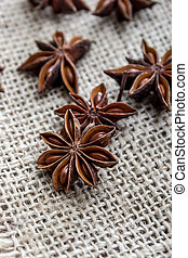 Star anise on fabric, close up photo