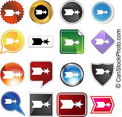 star arrow icon set