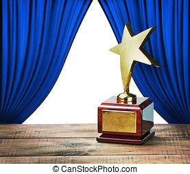 star award and blue curtains with space for text