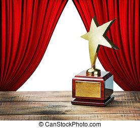 star award and red curtains with space for text