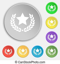 Star award icon sign. Symbol on eight flat buttons. Vector