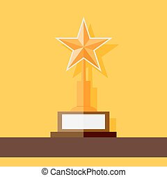 Star award icon standing at shelf. Flat style