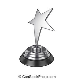 Star award Isolated on White Background, 3D rendering