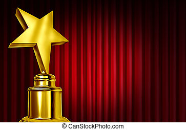 Star award on red curtains or velvet drapes with a spot light representing an achievement trophy prize ob a theatre stage during an awards ceremony to celebrate the winner of the golden shiny honor.