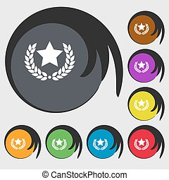 Star award sign icon. Symbols on eight colored buttons. Vector
