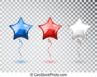 Star Balloons in national colors of the american flag isolated on transparent background. USA greeting design element. Vector elements for national holiday backgrounds or birthday party