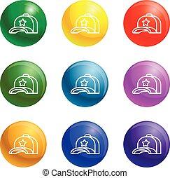 Star baseball cap icons set vector