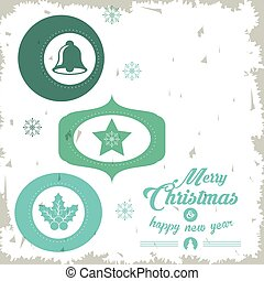 Star, bell and leaves icon. Merry Christmas design. Vector graphic