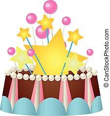 Star birthday cake icon, cartoon style