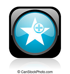star black and blue square web glossy icon
