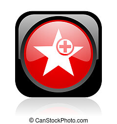 star black and red square web glossy icon