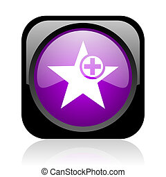 star black and violet square web glossy icon