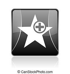 star black square web glossy icon