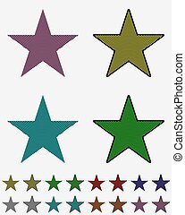 Star, black star collection with colored stripes coming out from above