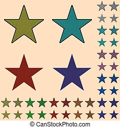 Star, black star collection with colored stripes leaving from the center
