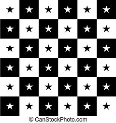 Star Black White Chess Board Background