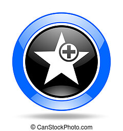 star blue and black web glossy round icon