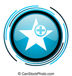 star blue circle glossy icon