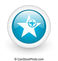 star blue circle glossy web icon on white background