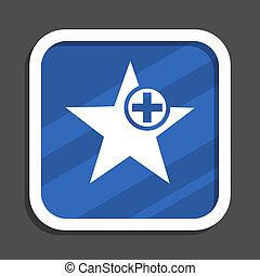 Star blue flat design square web icon