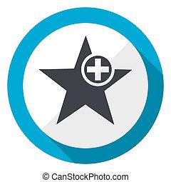 Star blue flat design web icon