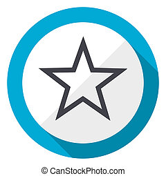 Star blue flat design web icon