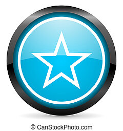star blue glossy circle icon on white background