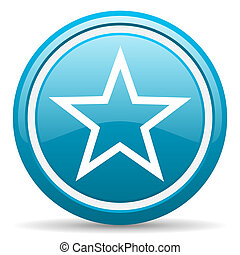 star blue glossy icon on white background