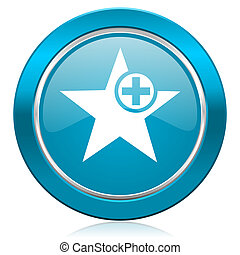 star blue icon add favourite sign