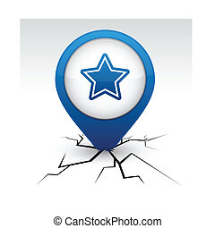 Star blue icon in crack.