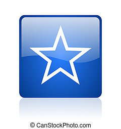 star blue square glossy web icon on white background