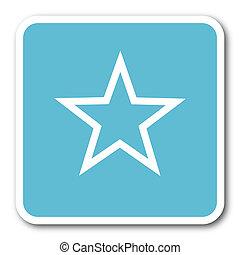 star blue square internet flat design icon