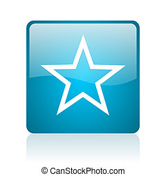 star blue square web glossy icon