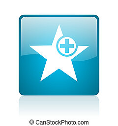 star blue square web glossy icon