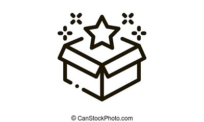 Star Bonus Box Icon Animation. black Star Bonus Box animated icon on white background