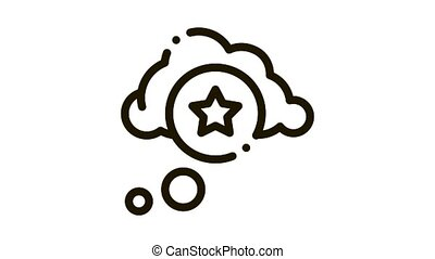 Star Bonus Cloud Icon Animation. black Star Bonus Cloud animated icon on white background