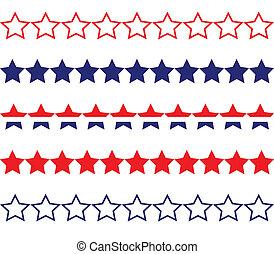 Star Borders - Red white & blue star borders.