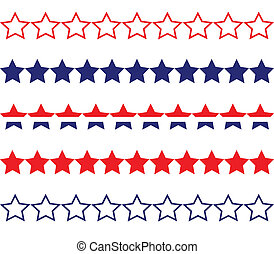 Star Borders - Red white & blue star borders.