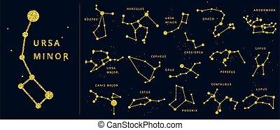 star., brillare, emisfero, costellazioni, punti, celestiale, generale, set., sud, vettore, nord, costellazione, linee, scintilla, baluginante, nomi, dorato