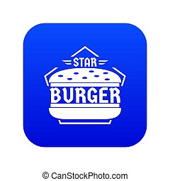 Star burger icon blue